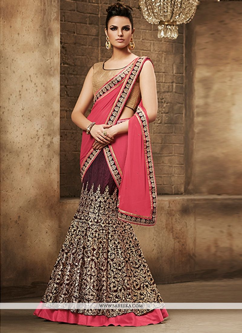 Georgette Pink Embroidered Work Lehenga Saree