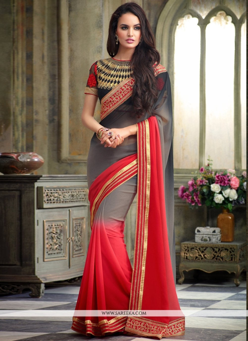 Georgette Red and Grey Embroidered Work Designer Saree