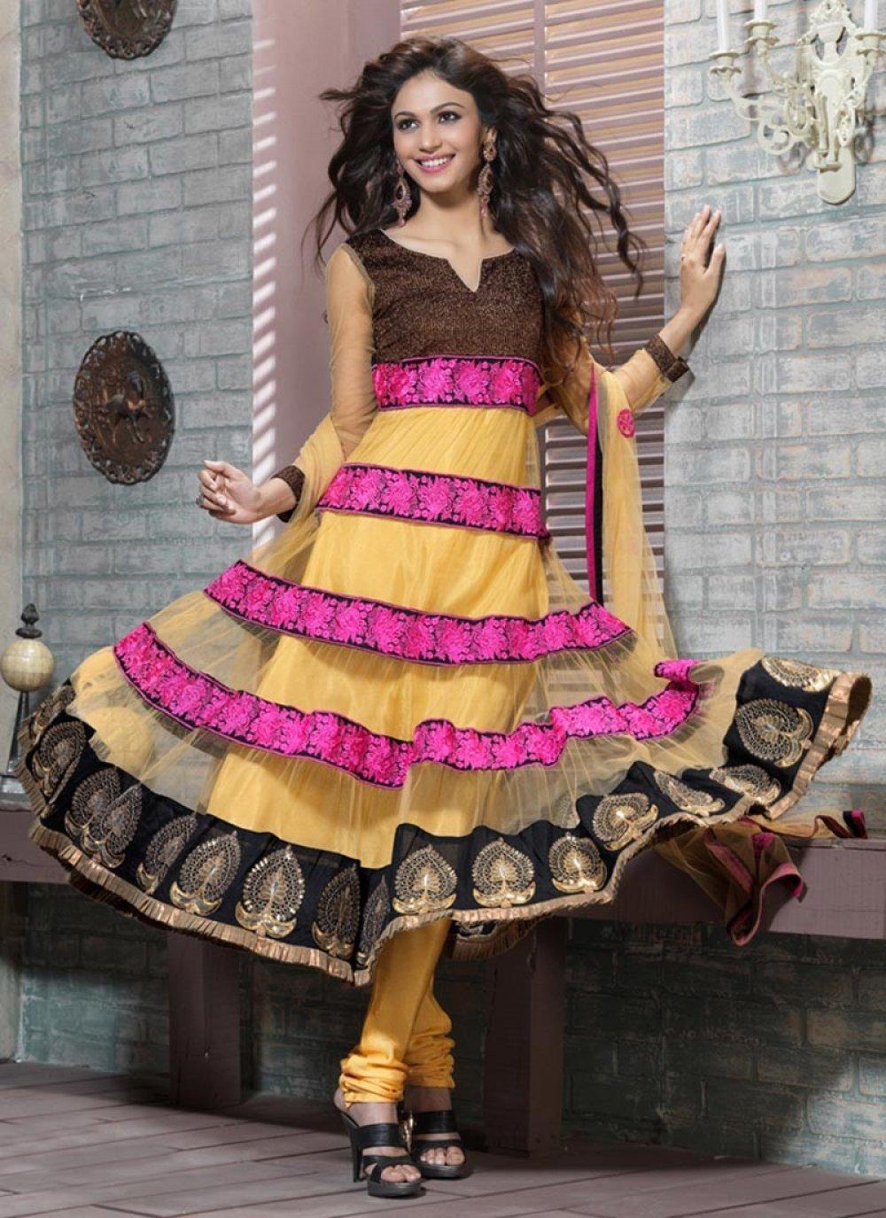 Gold Color & Pink Anarkali Suit