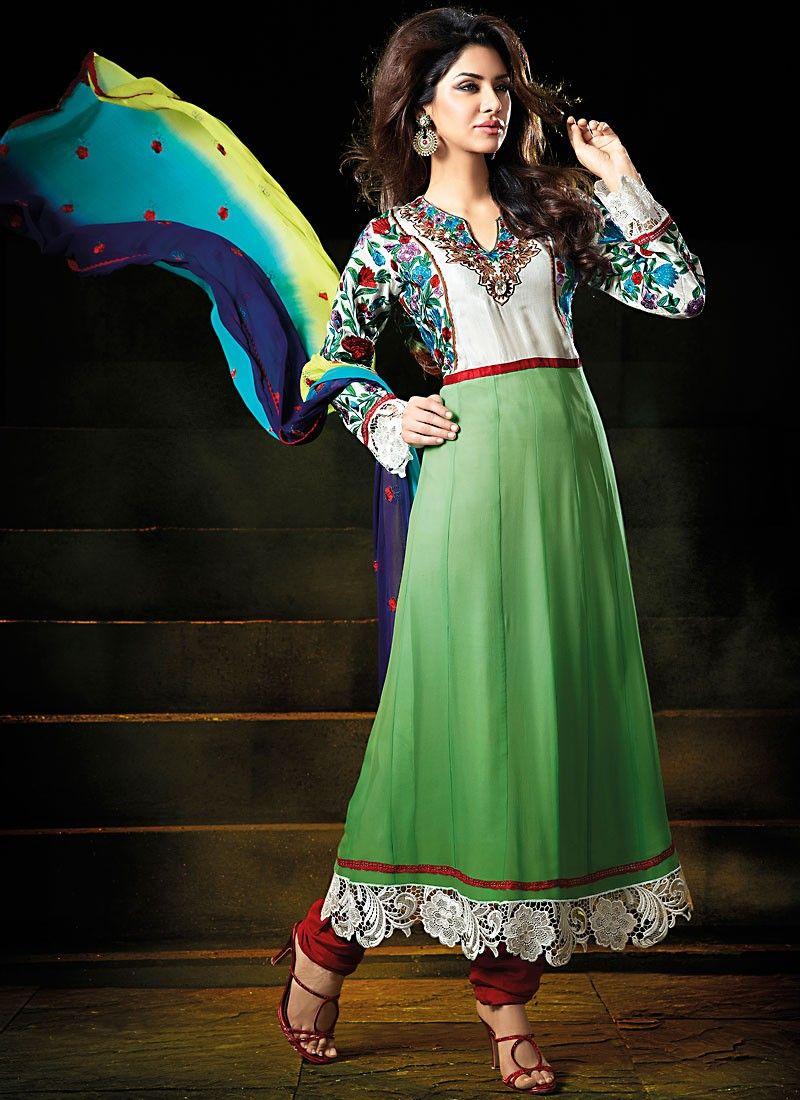Lime Green & Off White Anarkali