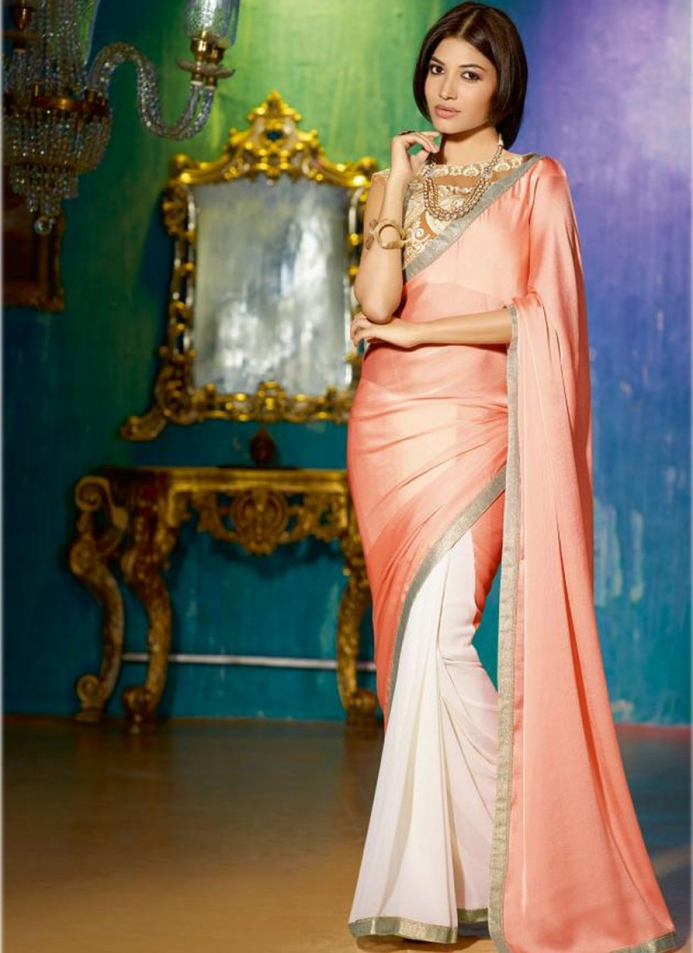 Peach And Off White Patch Border Half And Half Saree