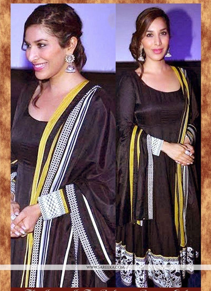 Pure Georgette Black Patch Border Work Anarkali Salwar Kameez