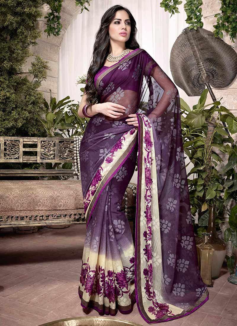 Purple Printed Georgette Saree