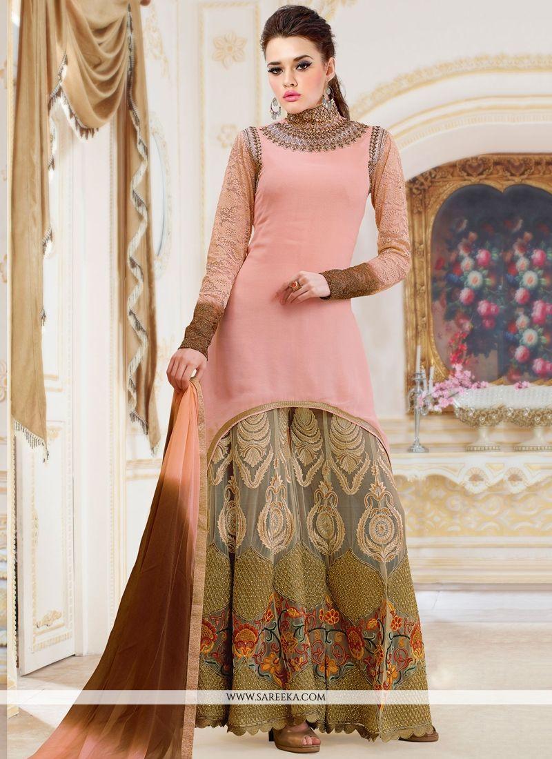 Resham Work Georgette Hot Pink Designer Palazzo Salwar Kameez