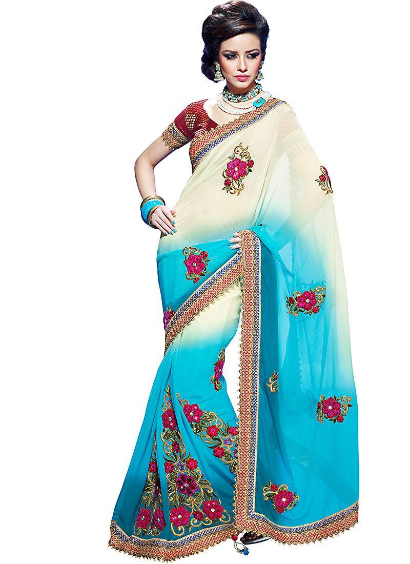 Azure Blue & Buttercream Embroidered Saree