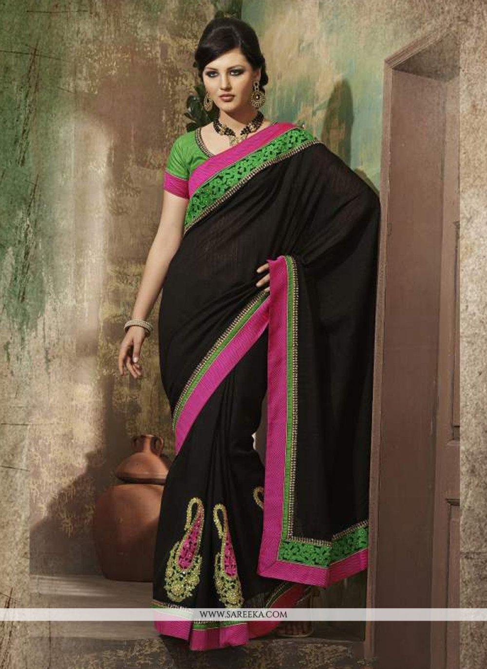 Bhagalpuri Silk Black Designer Saree
