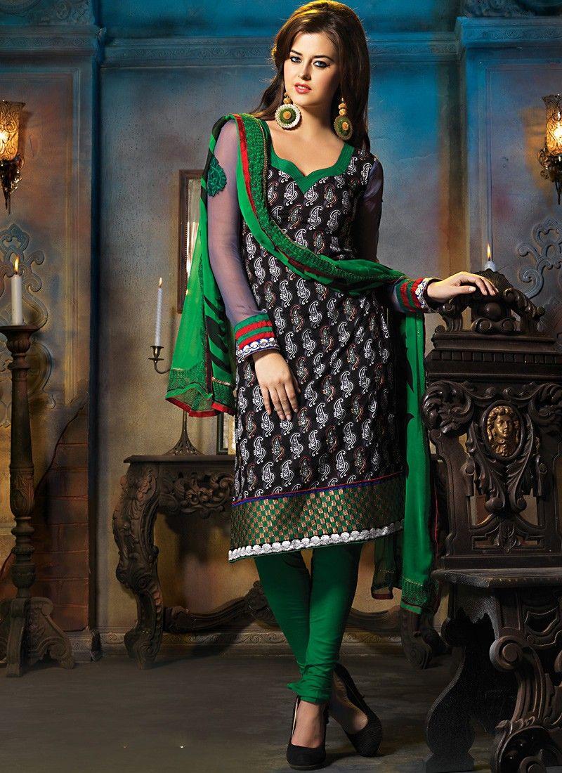 Black & Emerald Green Salwar Kameez