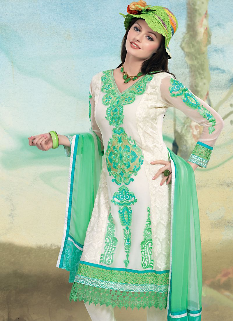 Can Blue & White Salwar Kameez