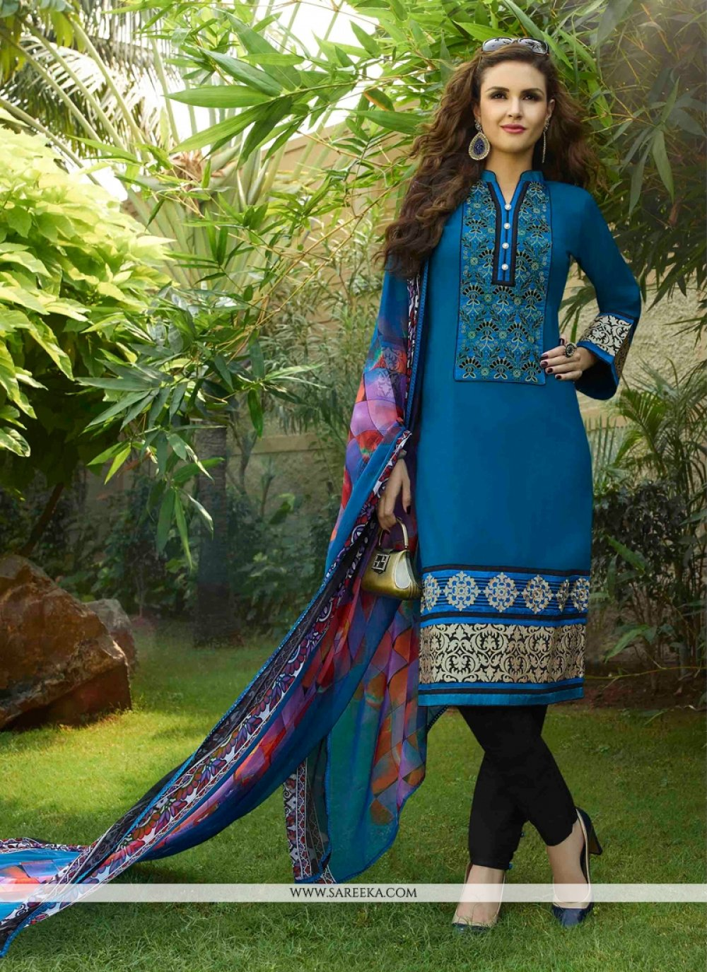 Cotton Satin Blue Churidar Designer Suit