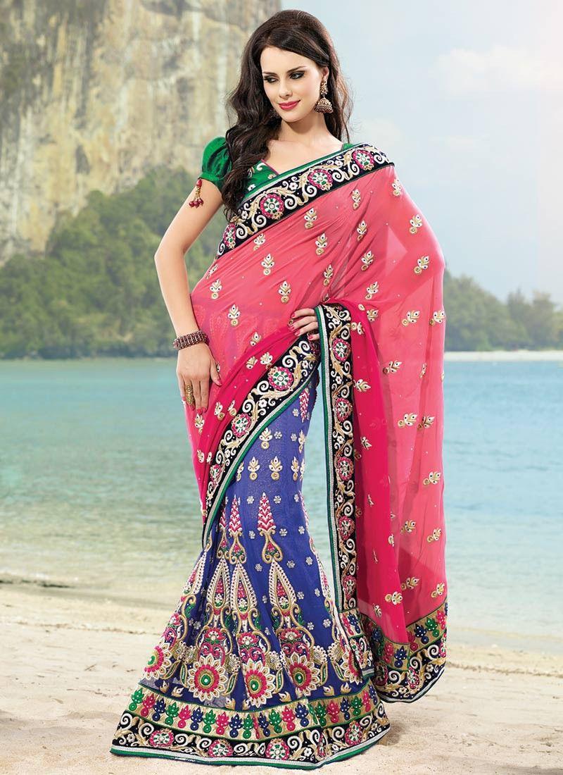 Deep Pink & Dep Blue Embroidered Saree