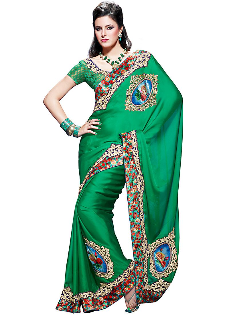 Emerald Embroidered Saree
