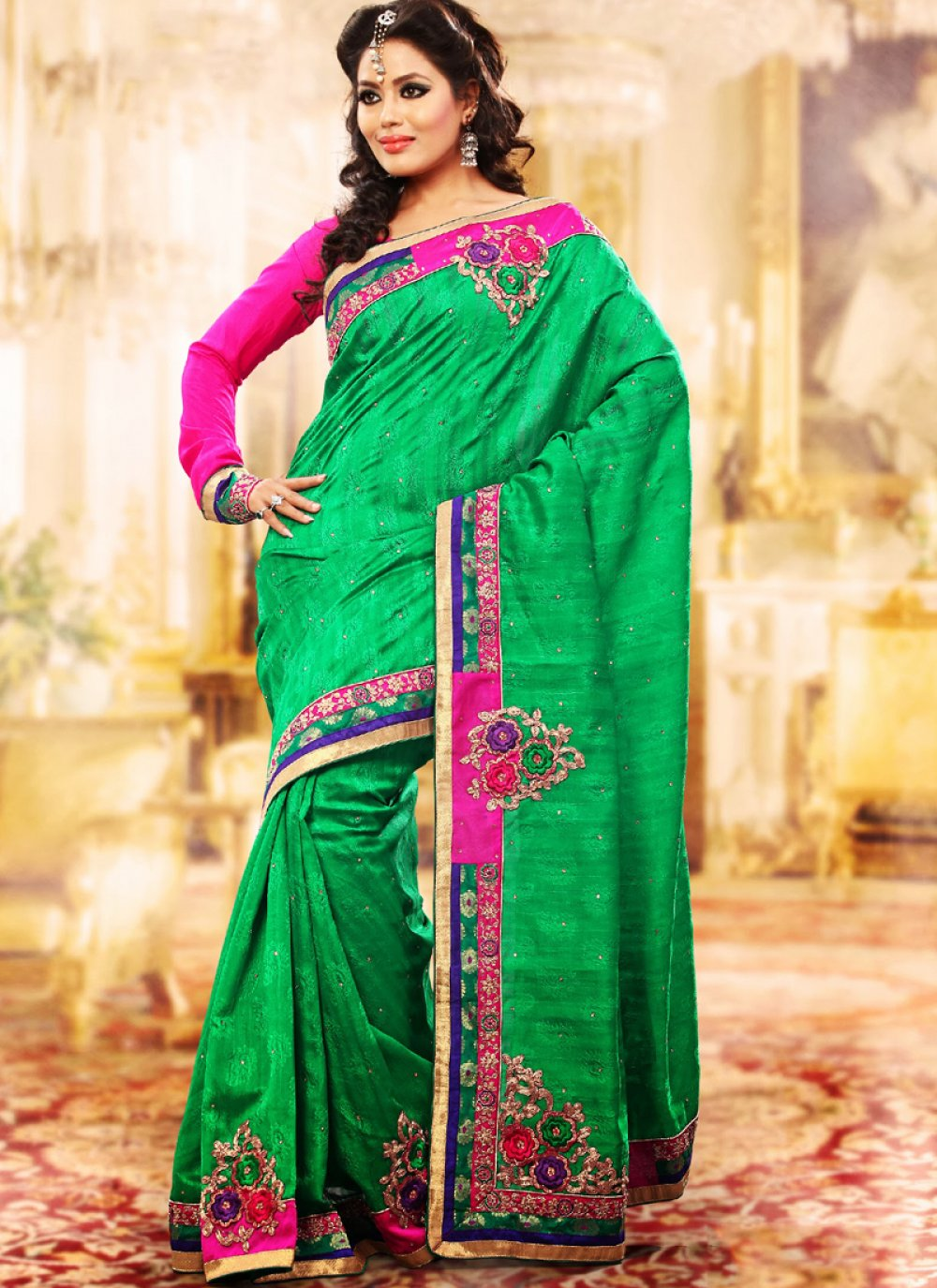 Emerald Green Embroidered Saree