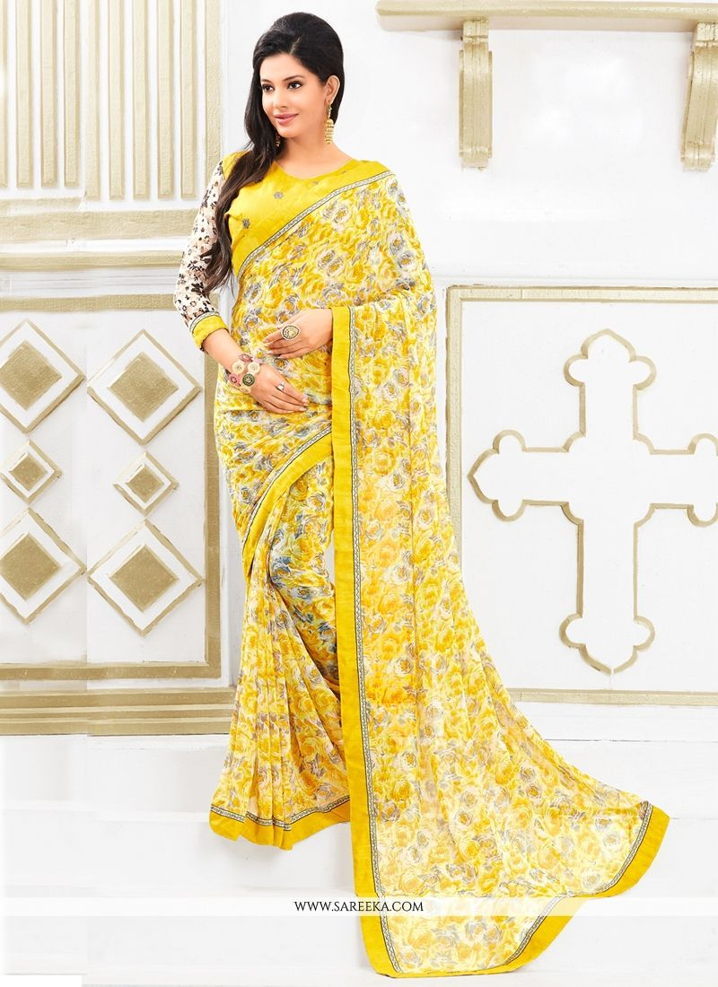 Georgette Yellow Print Work Casual Saree