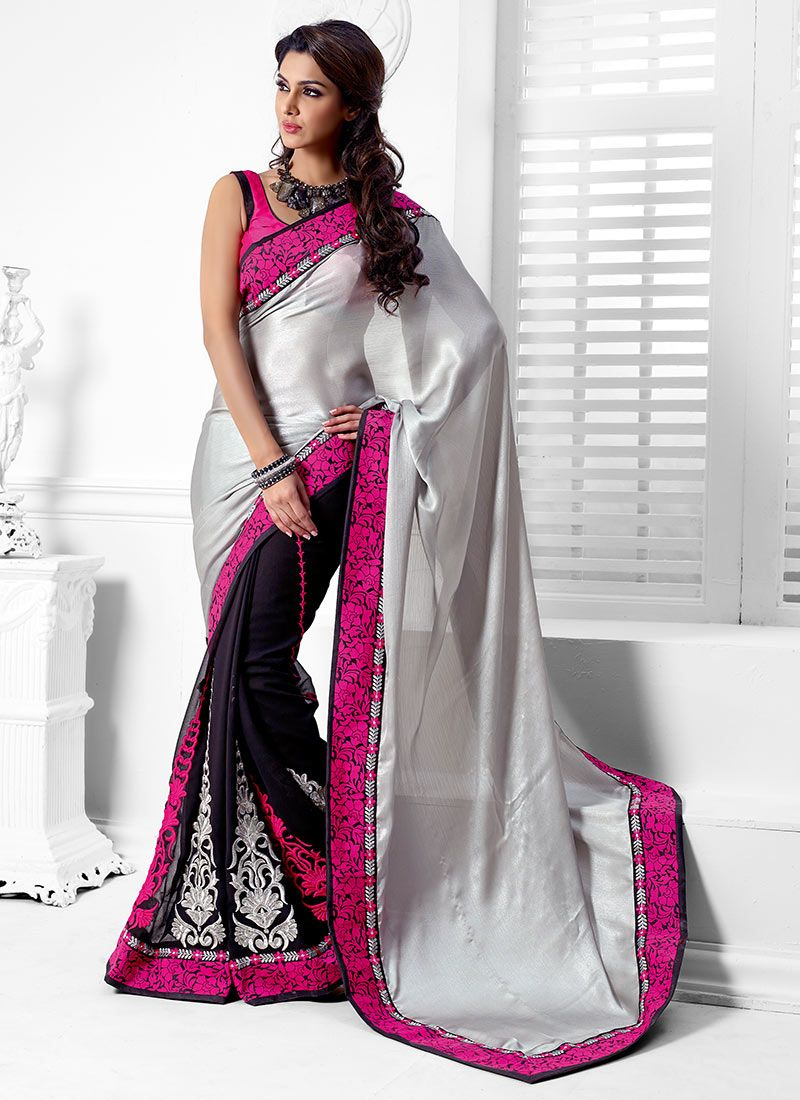 Grey And Purple Crepe Half And Half Saree