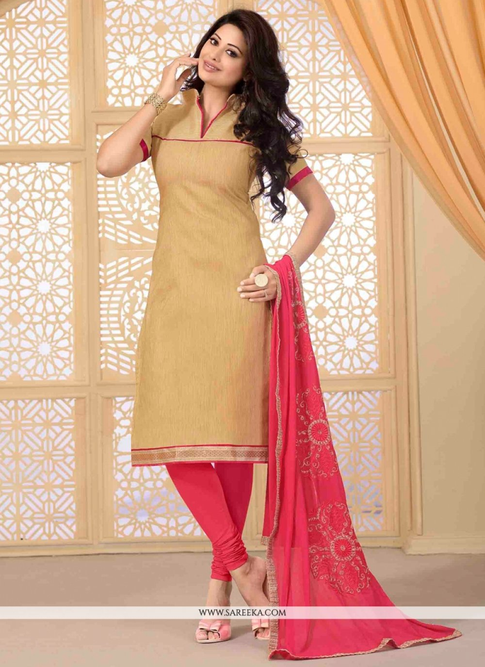 Jute Silk Lace Work Churidar Salwar Suit