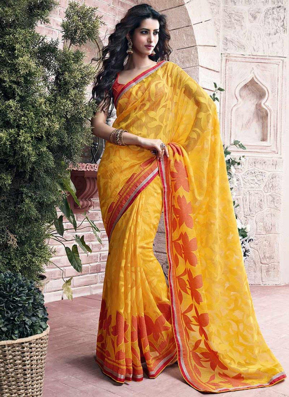 Mustard Printed Net Saree
