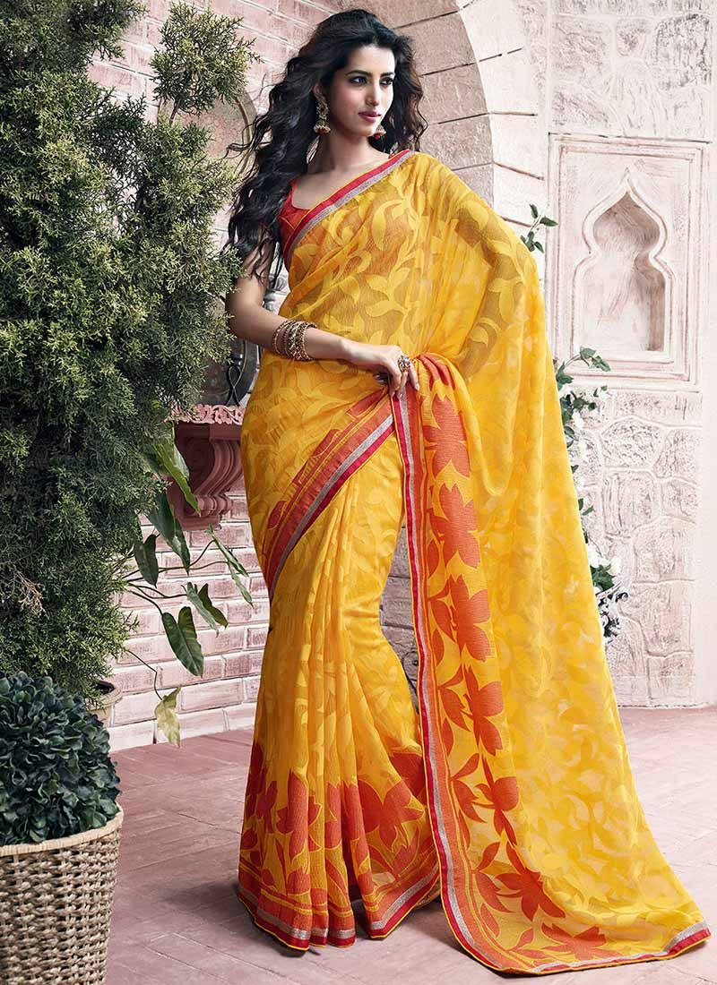 Mustard Printed Net Saree
