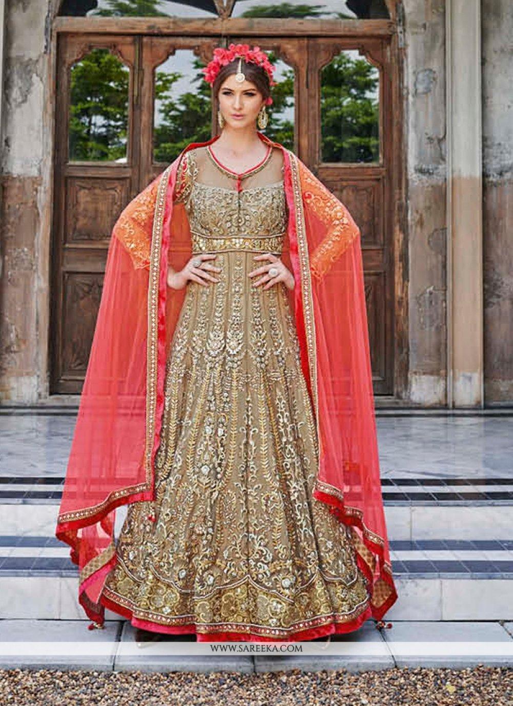 Net Brown Resham Work Anarkali Salwar Kameez