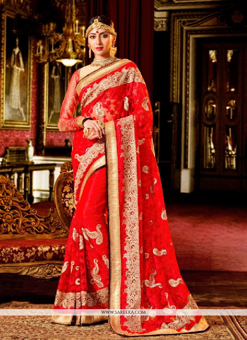 Red Patch Border Work Classic Designer Saree