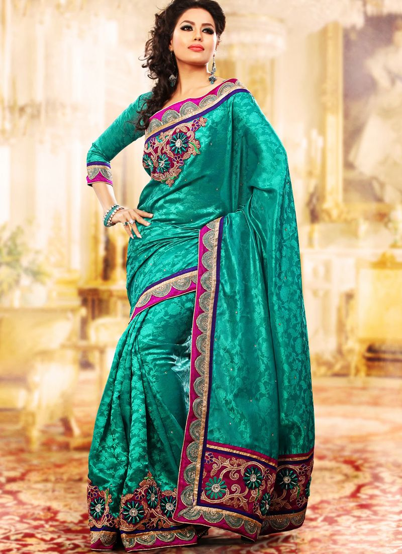 Tal Blue Embroidered Saree