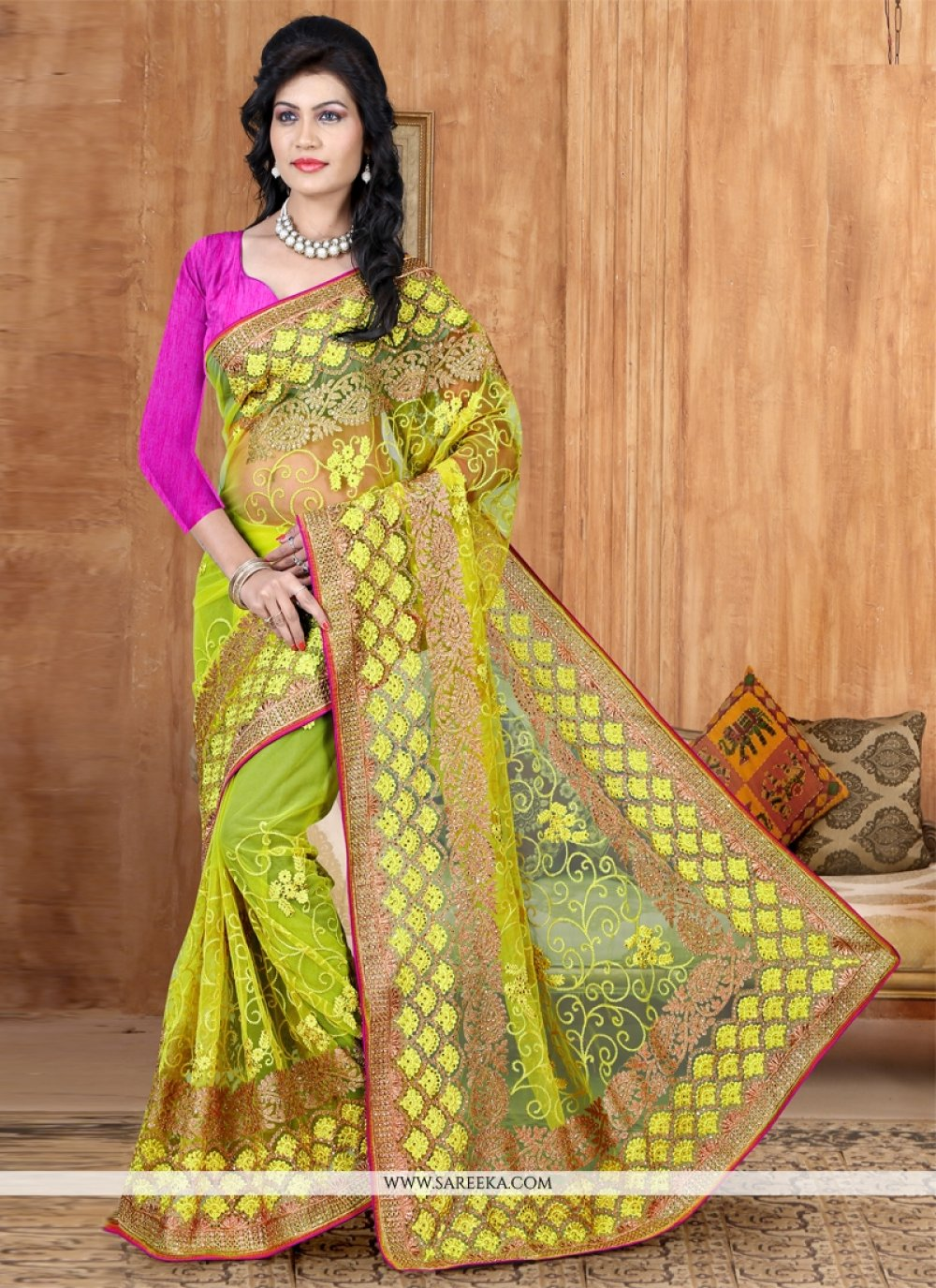 Yellow Lace Work Net Designer Saree