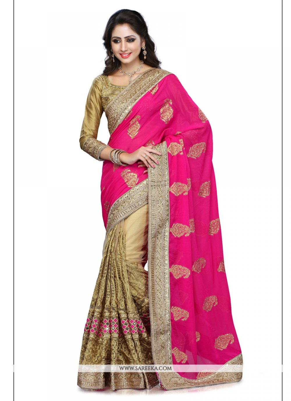 Hot Pink and Beige Georgette Designer Saree