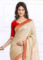 Lace Work Beige Casual Saree