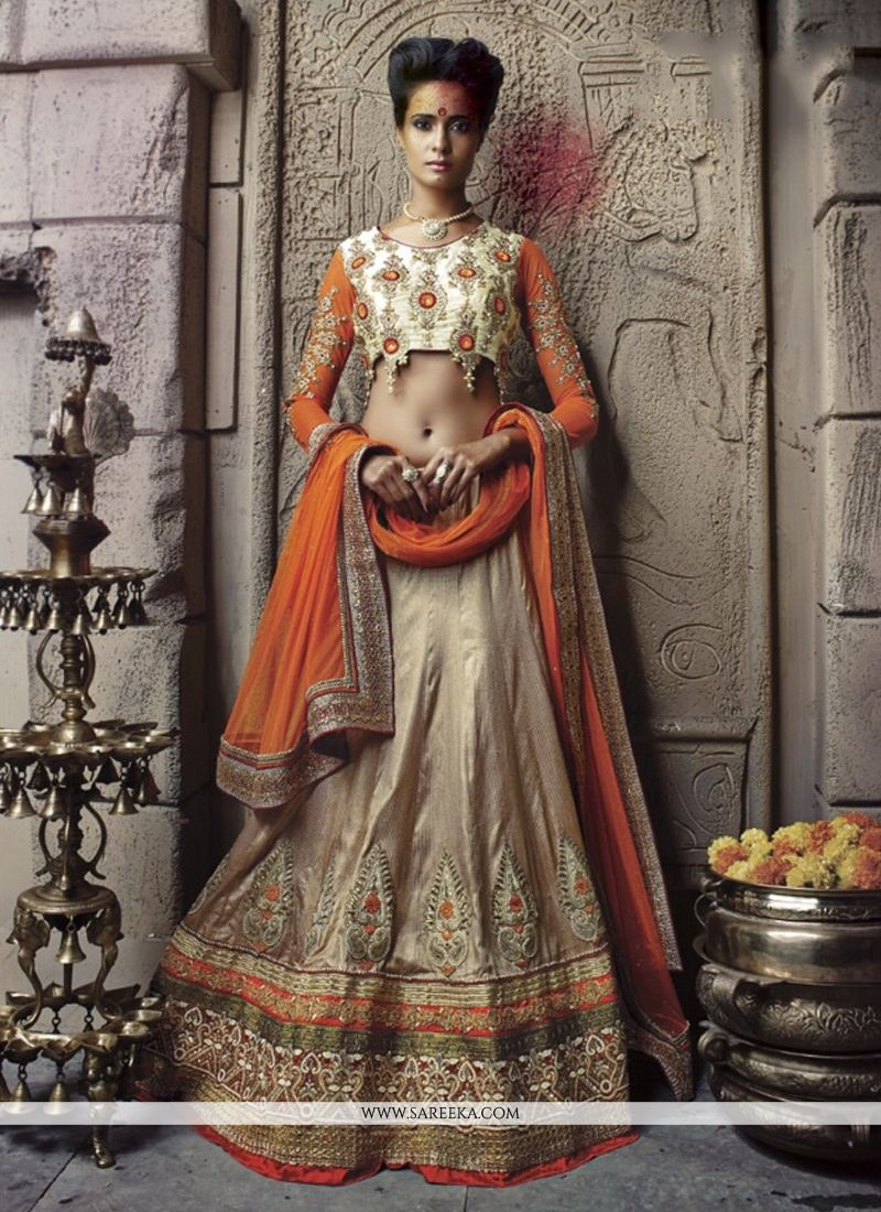 Beige Banarasi Silk Designer Lehenga Choli