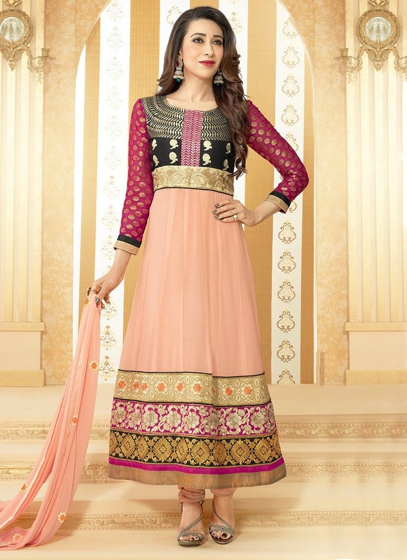 Beige Faux Georgette Churidar Suit