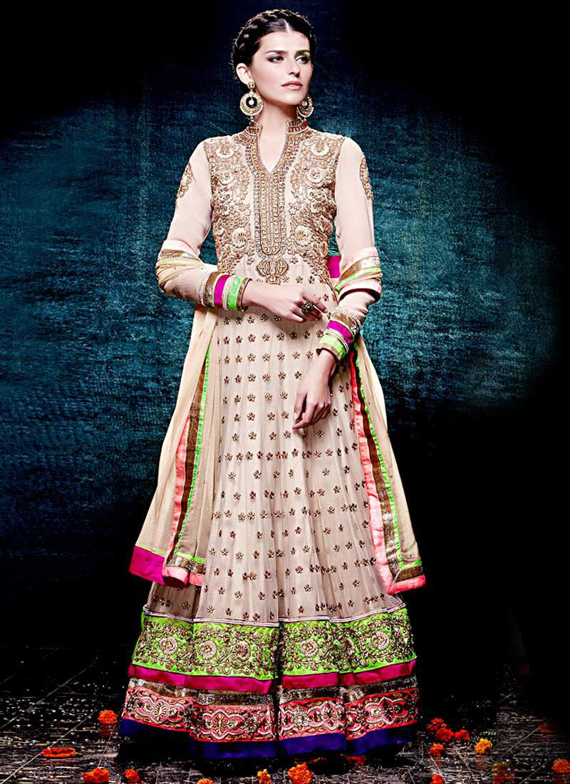Beige Floor Length Net Anarkali Suit