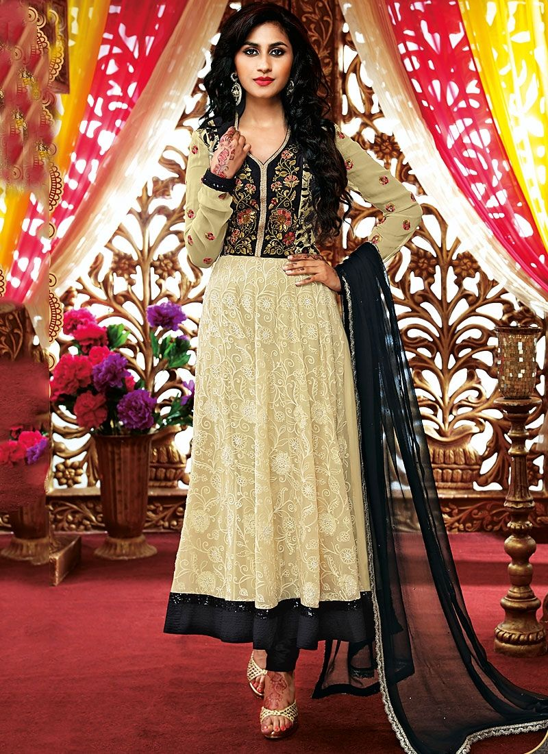 Beige Resham Work Net Georgette Anarkali Suit