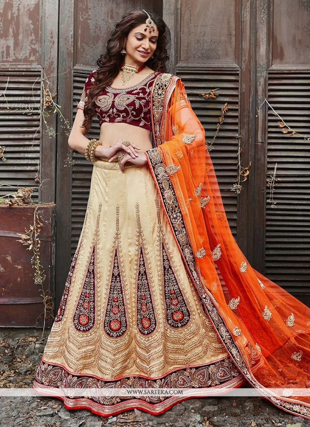 Beige Satin Silk Wedding Lehenga Choli