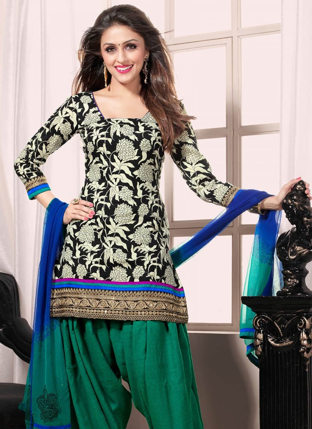 Black And Green Creap Patiala Suit