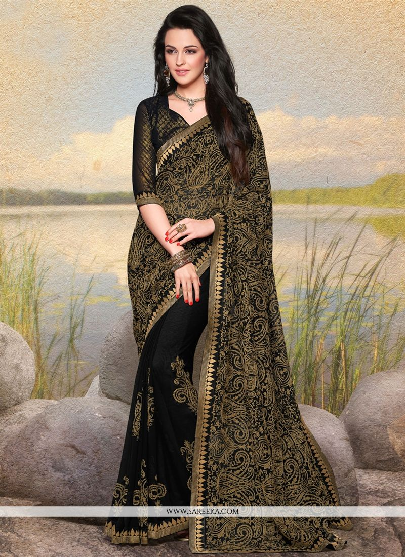 Black Faux Chiffon Designer Saree