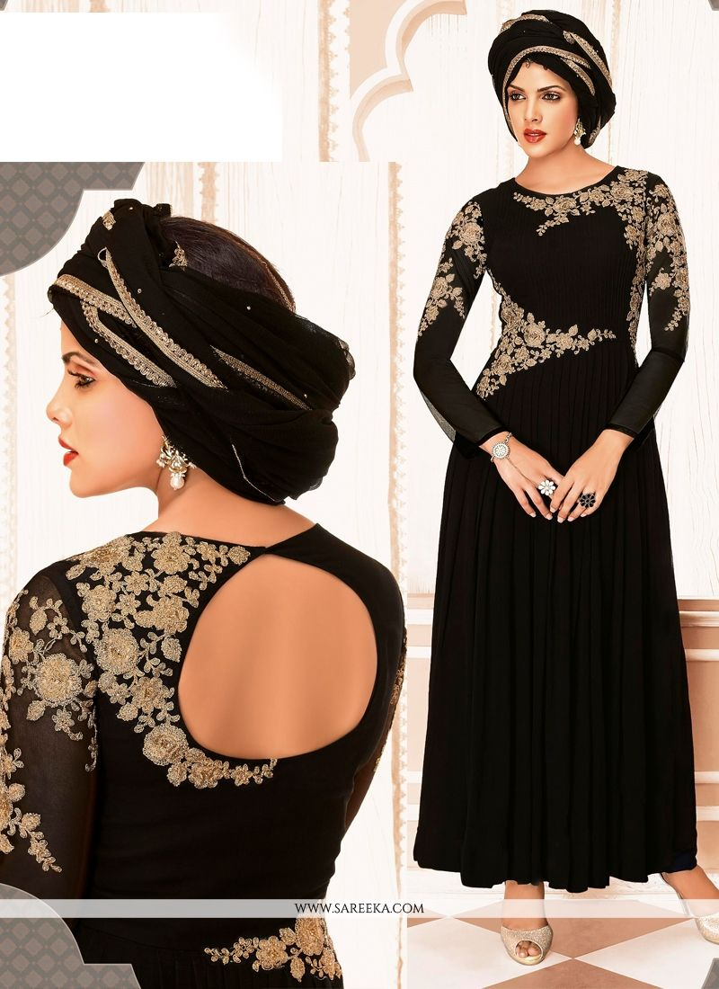 Black Georgette Anarkali Salwar Suit