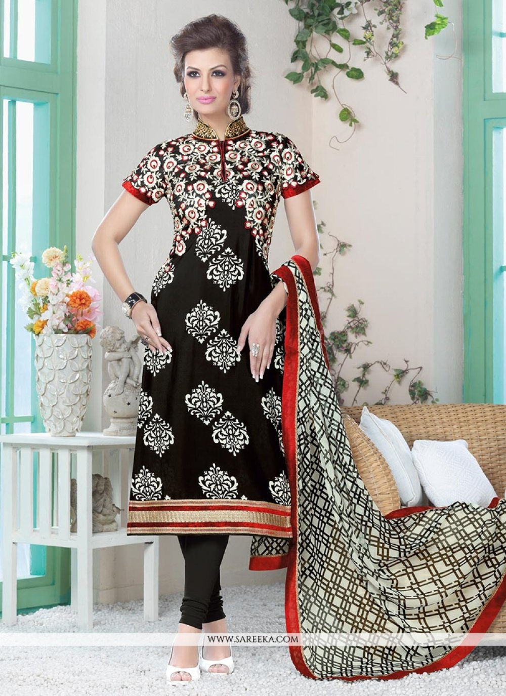 Black Resham Work Churidar Suit