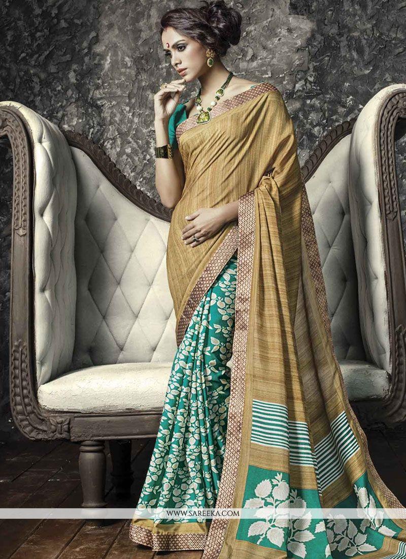 Blue and Beige Lace Work Manipuri Silk Casual Saree