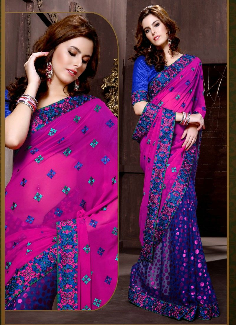 Blue Faux Georgette Half And Half Saree