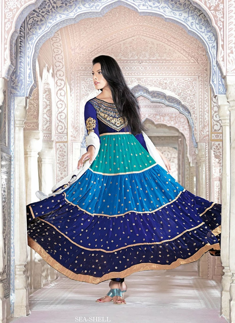 Blue Georgette Designer Anarkali Suit