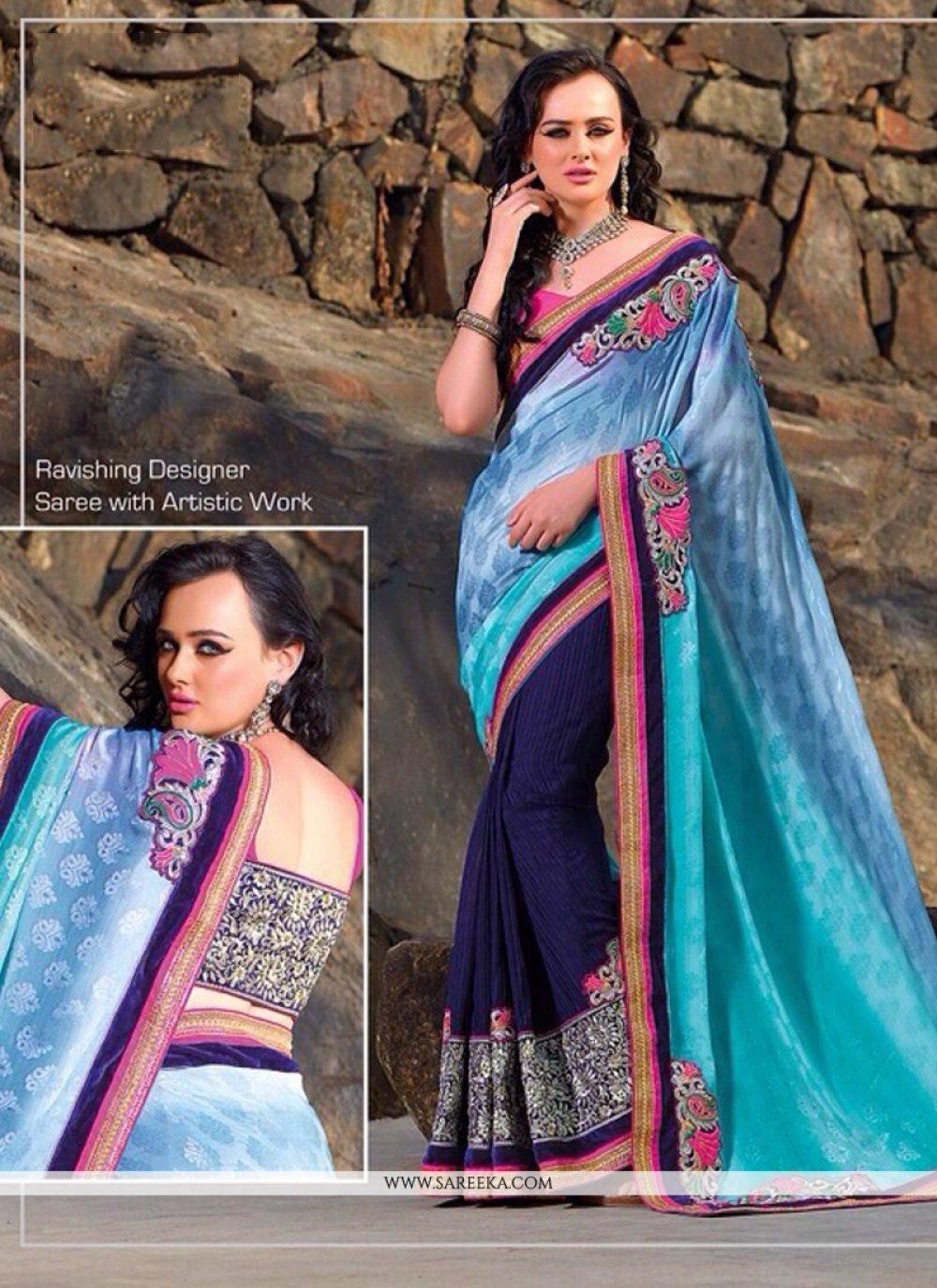 Blue Jacquard Designer Saree
