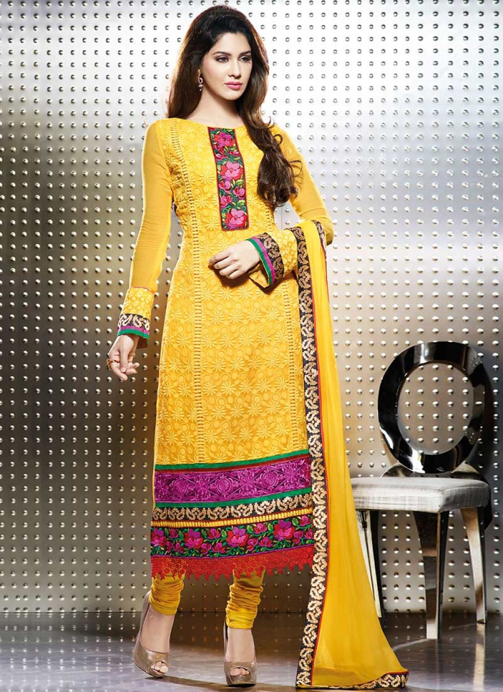 Bright Yellow Georgette Churidar Suit