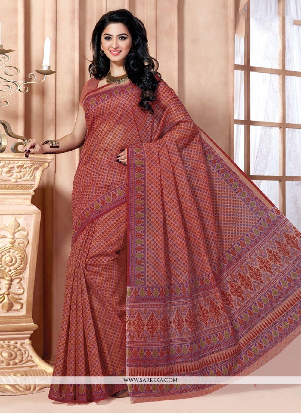 Cotton   Multi Colour Print Work Casual Saree