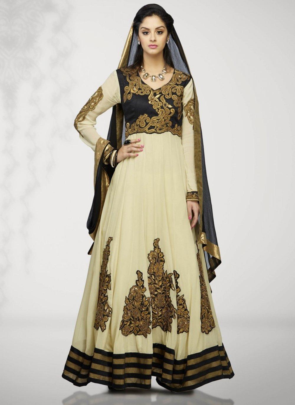 Cream And Black Resham Work Anarkali Suit