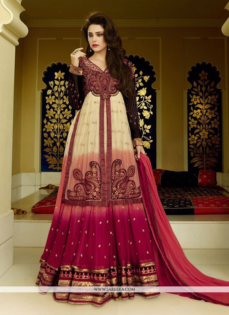 Cream and Red Floor Length Anarkali Suit