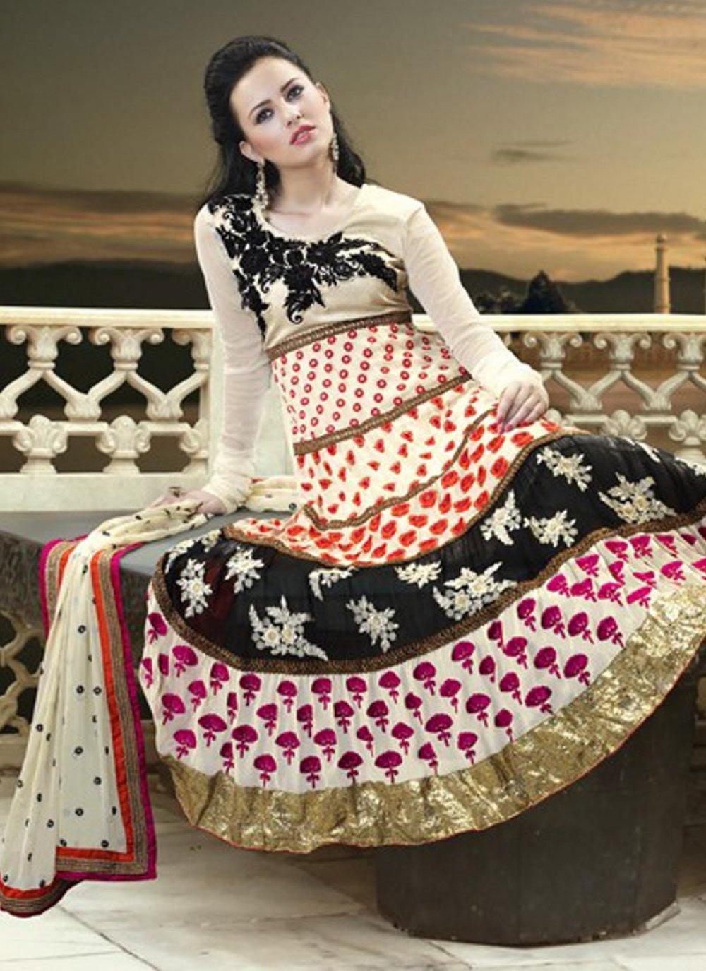 Cream Georgette Embroidered Anarkali Suit