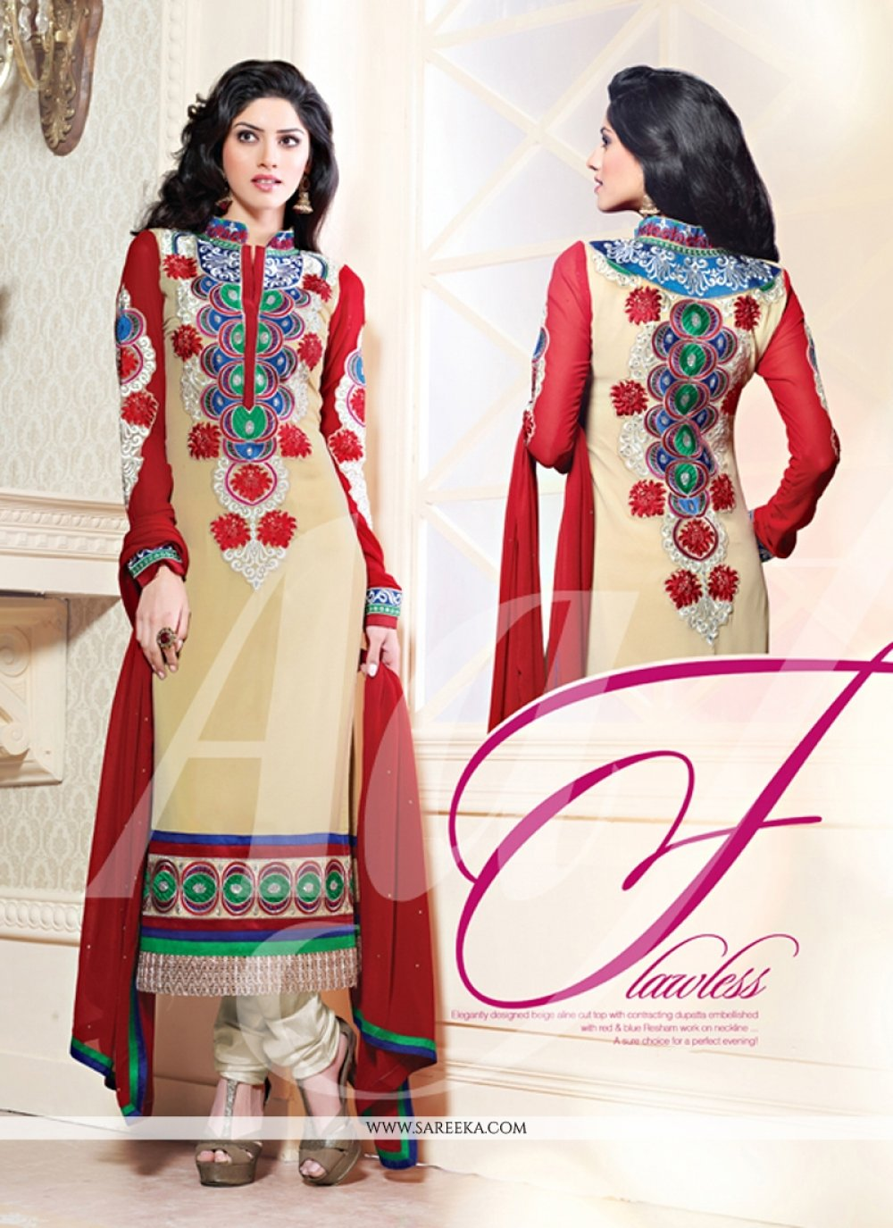 Cream Resham Work Georgette Salwar Suit
