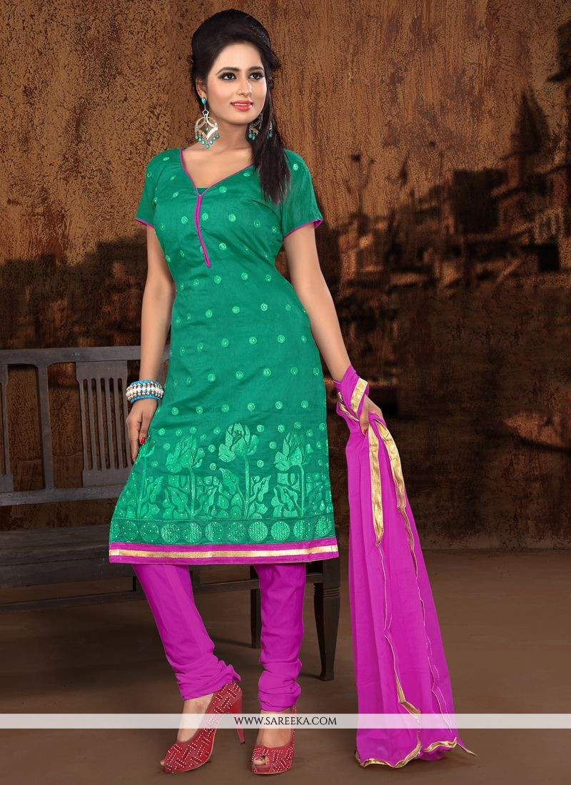 Embroidered Work Sea Green Chanderi Cotton Churidar Designer Suit