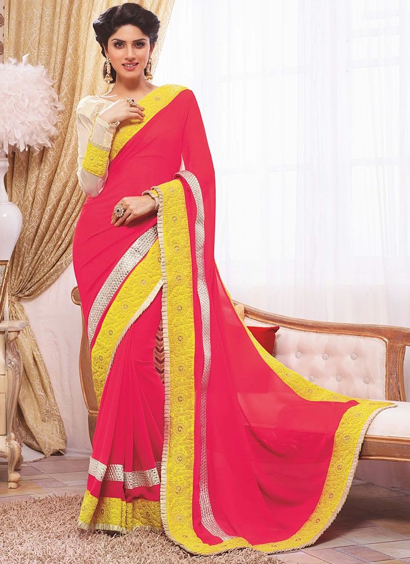 Georgette Hot Pink Party Wear Saree