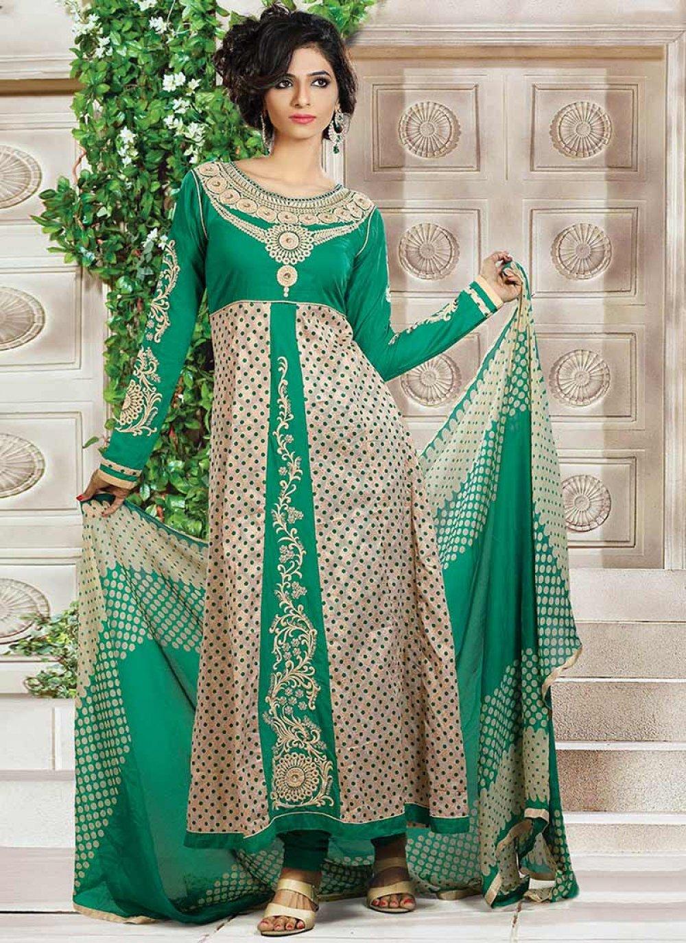 Green And Cream Printed Churidar Suit