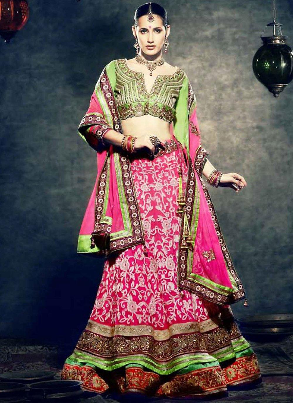 Green And Pink Net Lehenga Choli